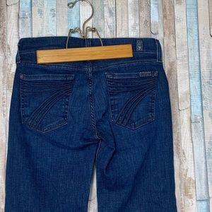 7FAM 24 Dark Wash 7 Pocket Dojo Wide Flare Jeans